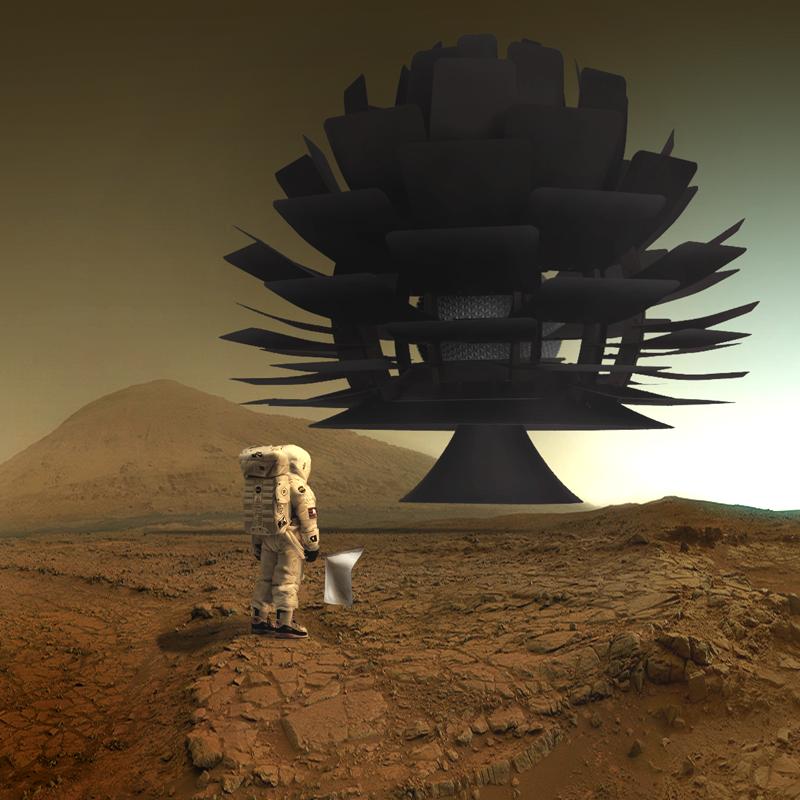 Astronave_aliena_pianura di Marte_astronauta-terrestre